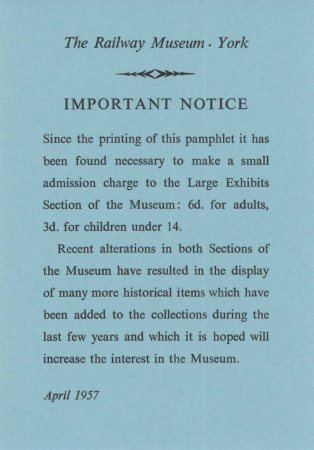 York Railway Museum notice of charges April 1957
